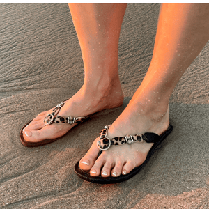 Grandco Sandals - Leopard Print Style 28636, With A black or brown 1' Sole - Shown worn on toes