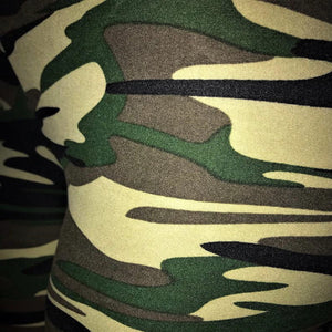 A close up of these ladies legging in a camo design