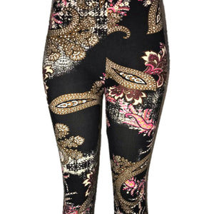 These are a black womens leggings with a floral design