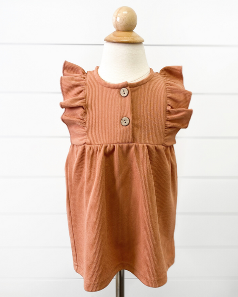 Chandler Ruffle Sleeve Smock Dress in Peach
