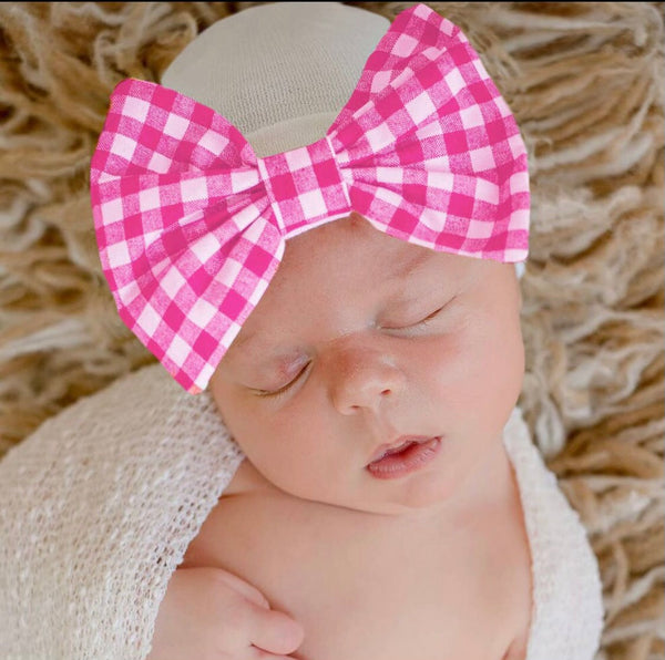 Cherry Check Watercolor Bow Newborn Beanie