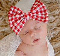 Christmas Check Bow Newborn Beanie