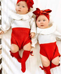 Red & White Knit Onesie