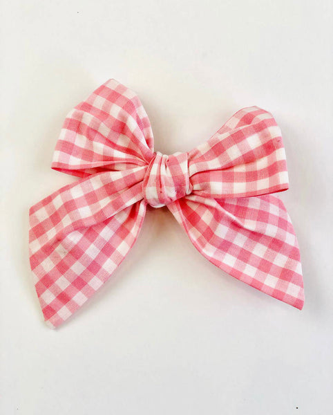 Pink Gingham Sailor Bow