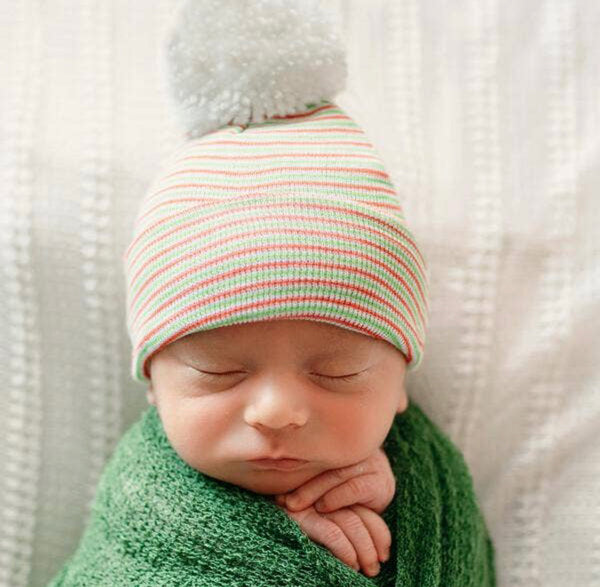 Spearmint Candy Cane Striped Pom Newborn Beanie