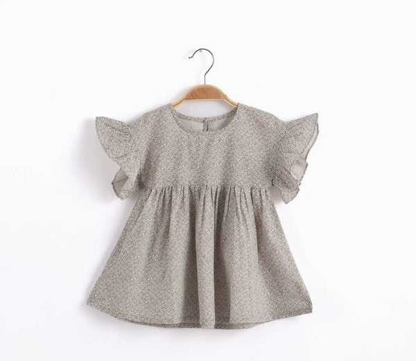 Grey dress with ruffled sleeves