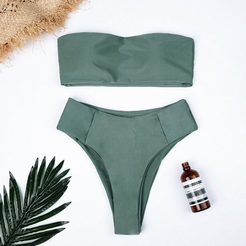 2019 HOT European American Style Luscious Two Piece Bikini Swim Suit Sexy Solid Color Tops