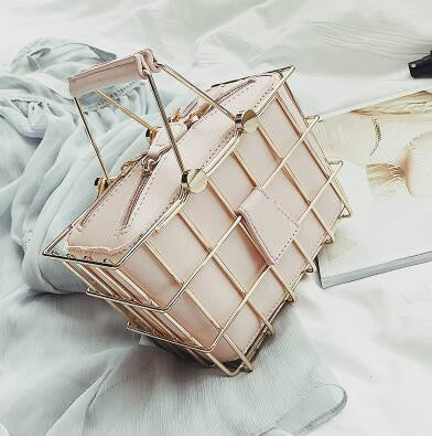 Spring Trend High-quality Leather Iron Basket Bag