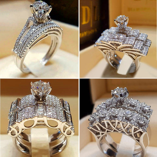 Female Crystal White Round Ring 925 Silver Engagement Ring Vintage Bridal Wedding Rings For Women
