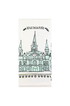 New Orleans St. Louis Cathedral Sketch Tea Towel