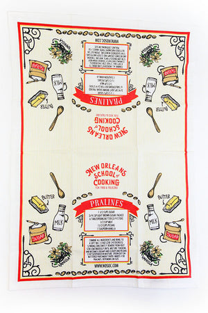New Orleans School of Cooking Praline Recipe Towel