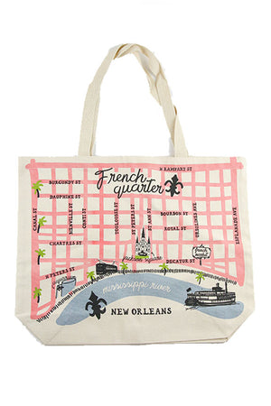 French Quarter Mississippi River Map Tote