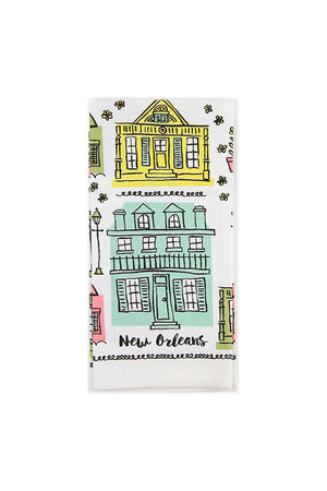 New Orleans Cottage Houses Tea Towel