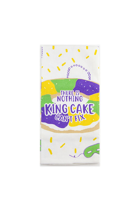 There Is Nothing King Cake Can't Fix Tea Towel