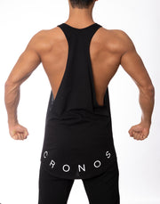 CRONOS WIDE CUFFS LOGO TANK TOP BLACK