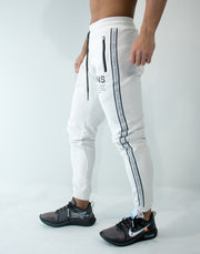 CRNS Logo Tape Long Sweat Pants WHITE