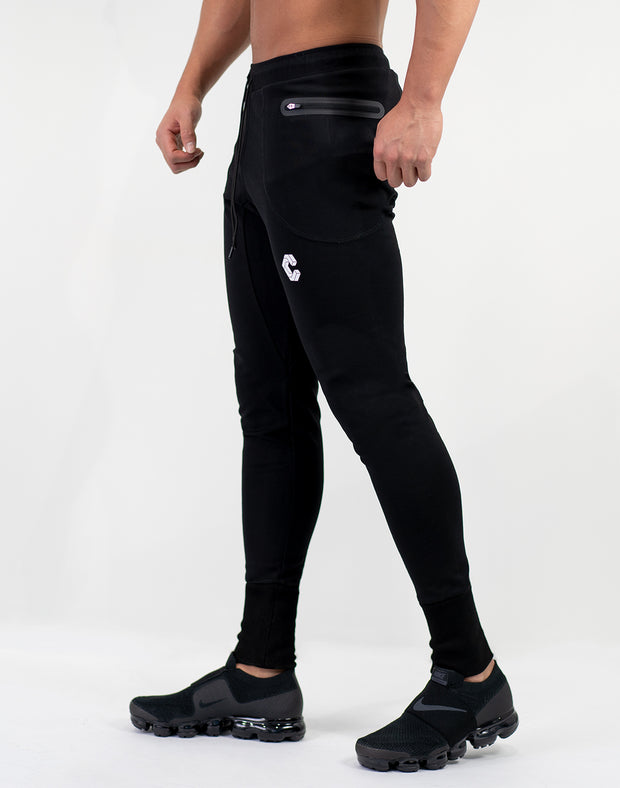 Mode Calf Logo jogger Pants Black