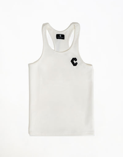 Breast Logo Stretch Fit Tank Top White