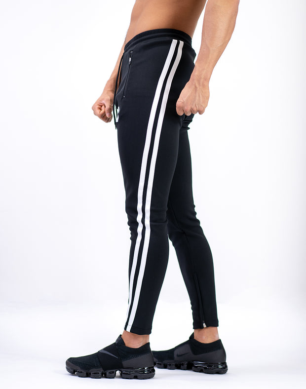 MODE CURVE STRIPE PANTS BLACK