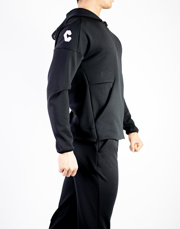 ZIP UP STRETCH PARKA BLACK