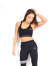 CRONOS ADJUSTABLE LOGO SPORTS BRA BLACK