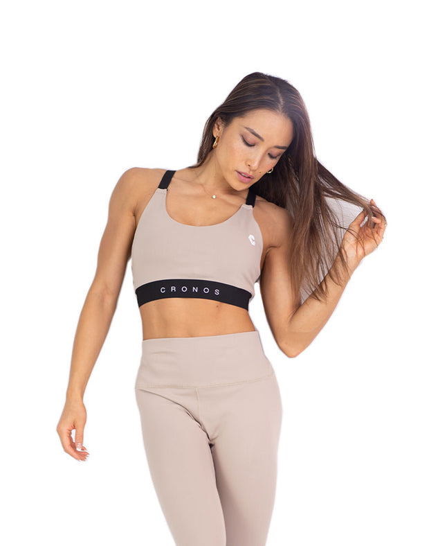 CRONOS ADJUSTABLE LOGO SPORTS BRA BEIGE
