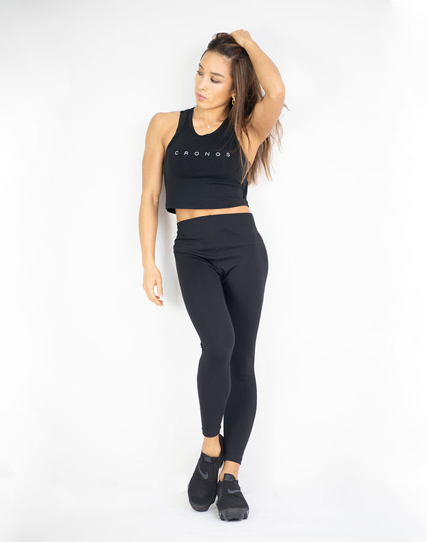 CRONOS CROP TANK TOP 01 BLACK