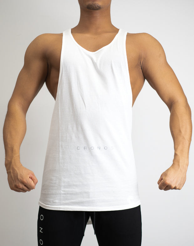 CRONOS WIDE CUFFS TANK TOP WHITE