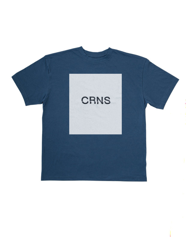 CRNS SQUARE PRINT OVER SIZE T-SHIRT 【NAVY】
