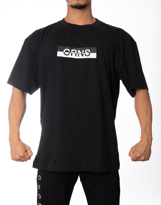 CRNS BOX LOGO OVER SIZE  T-SHIRT BLACK