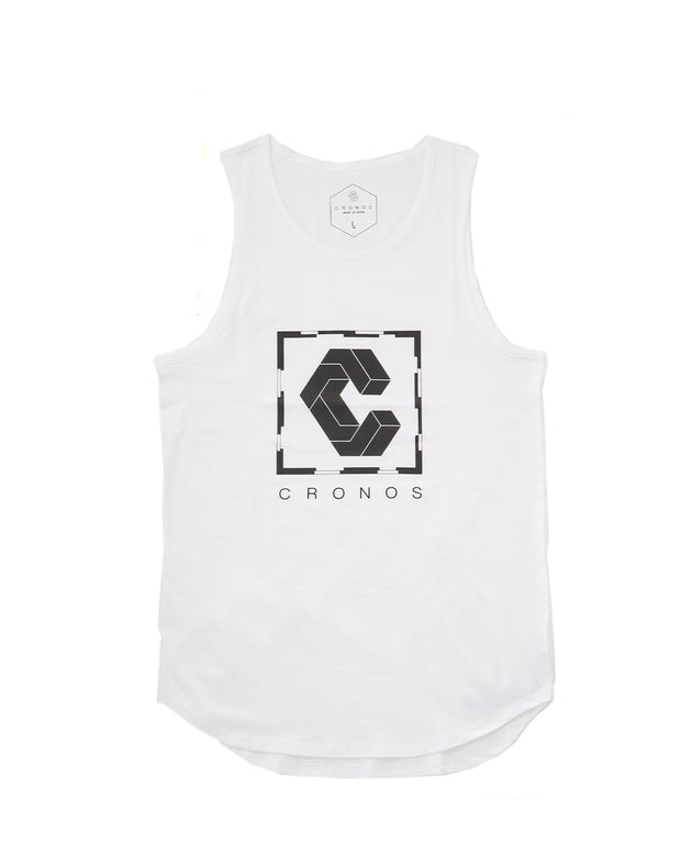 CRONOS SQUARE LOGO TANK TOP 【WHITE】