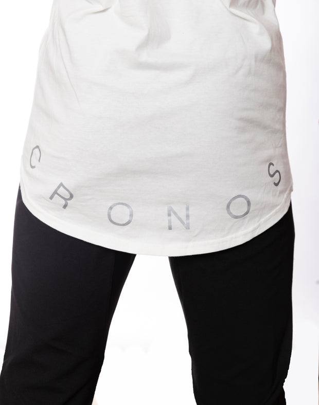 CRONOS WIDE CUFFS LOGO TANK TOP WHITE