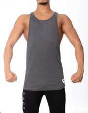 CRONOS WIDE CUFFS LOGO TANK TOP GRAY
