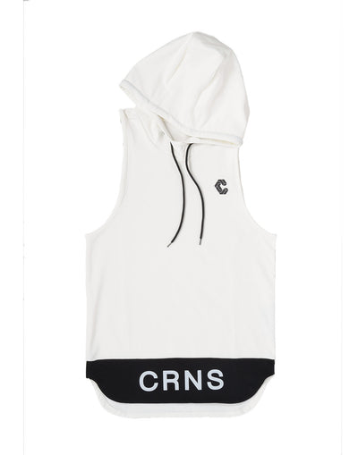 CRONOS BI-COLOR HOODY TANK TOP  WHITE