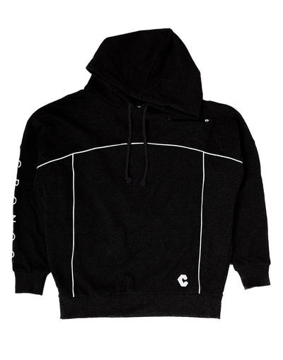 CRONOS ARM LOGO LINE ACCENT BIG SIZE HOODY BLACK
