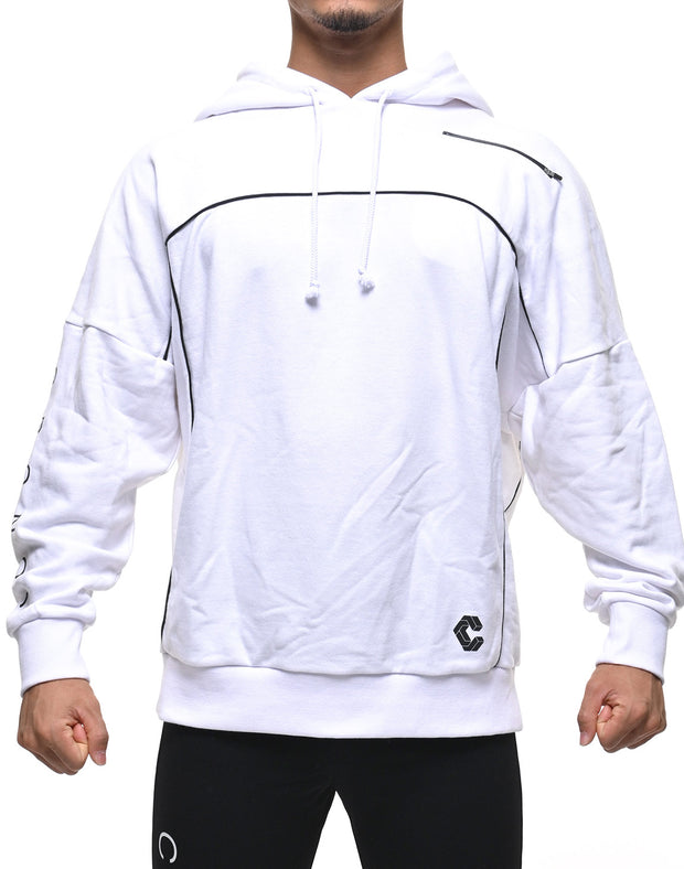 CRONOS ARM LOGO LINE ACCENT BIG SIZE HOODY WHITE
