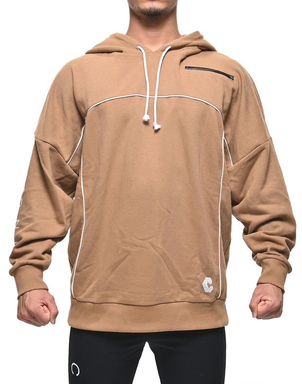 CRONOS ARM LOGO LINE ACCENT BIG SIZE HOODY BROWN