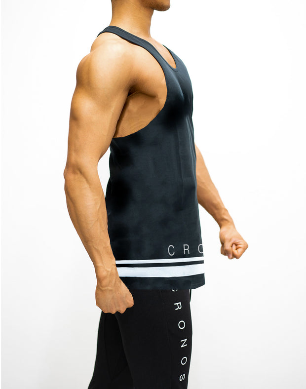 CRONOS HEM TWO LINE TANK TOP  BLACK