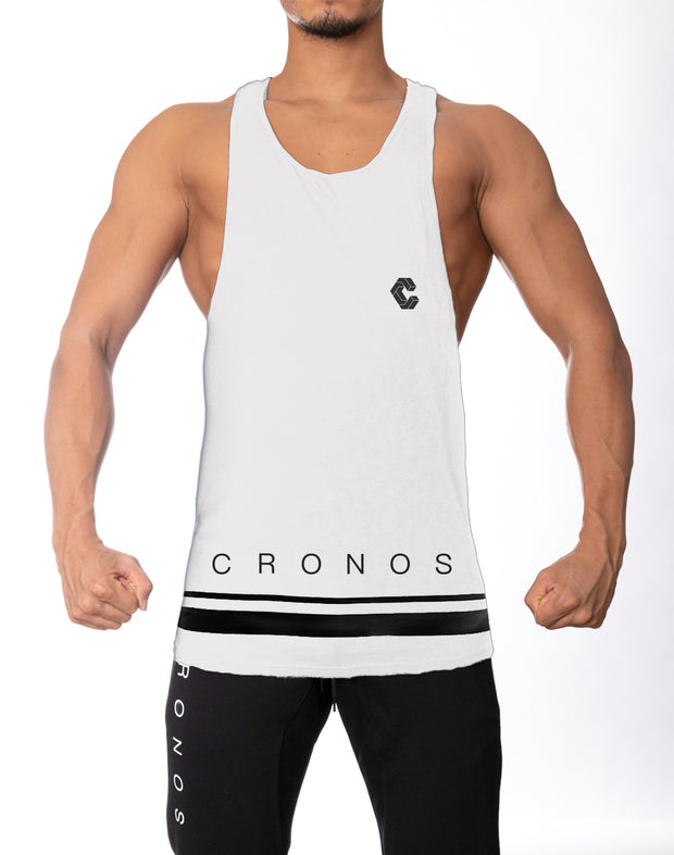 CRONOS HEM TWO LINE TANK TOP  WHITE