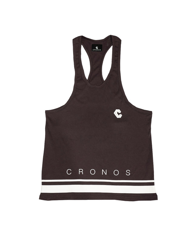 CRONOS HEM TWO LINE TANK TOP  D.BROWN