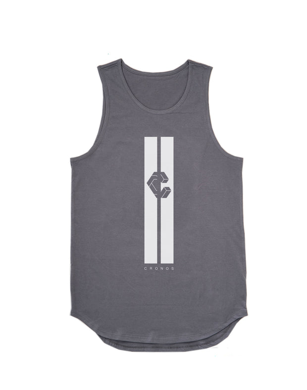 CRONOS STRIPE LOGO TANK TOP D.GRAY