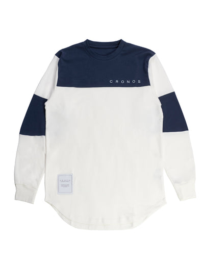 CRONOS NEW BICOLOR  LONG SLEEVE WHITE×NAVY