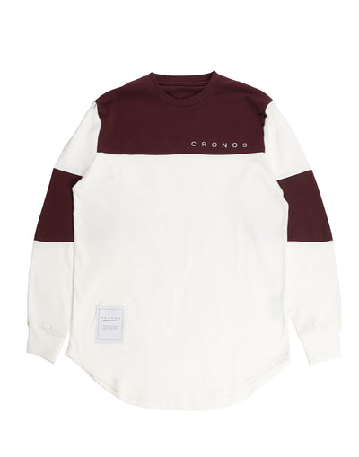 CRONOS NEW BICOLOR  LONG SLEEVE WHITE×BORDEAUX