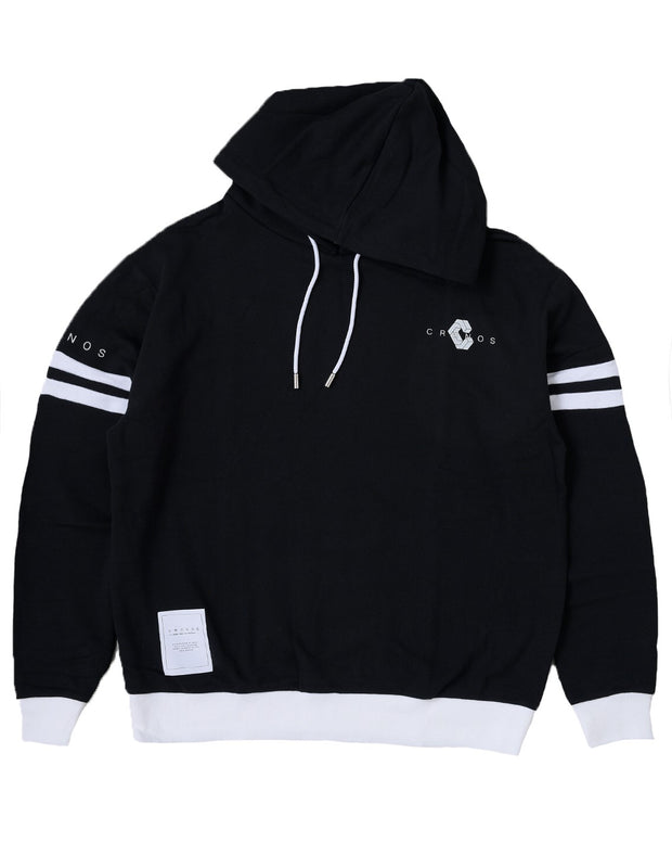 CRONOS ARM TWO LINE HOODY【BLACK×WHITE】