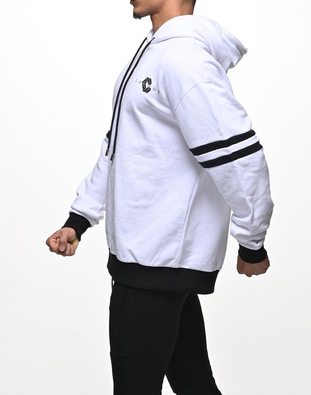 CRONOS ARM TWO LINE HOODY【WHITE×BLACK】