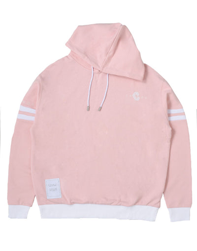 CRONOS ARM TWO LINE HOODY【PINK×WHITE】