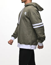 CRONOS ARM TWO LINE HOODY【GREEN×WHITE】