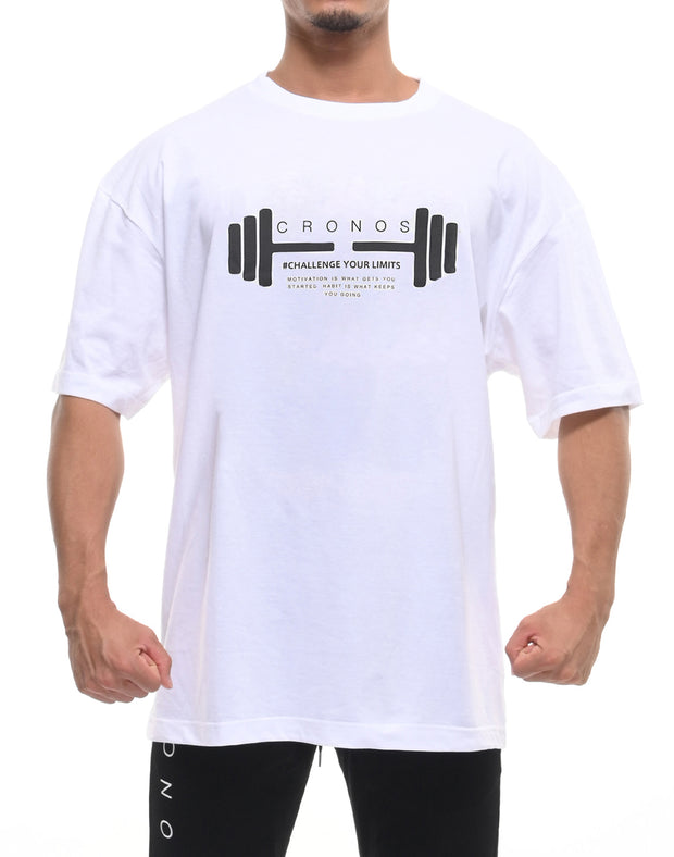 CRONOS DUMBBELL LOGO T-SHIRTS【WHITE】
