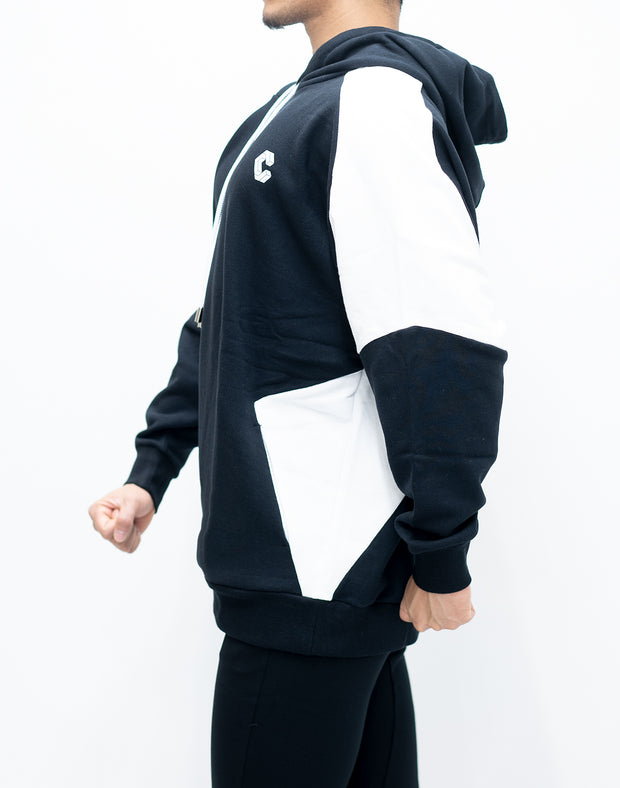 CRONOS NEW SHOULDER COLOR HOODY【BLACK×WHITE】