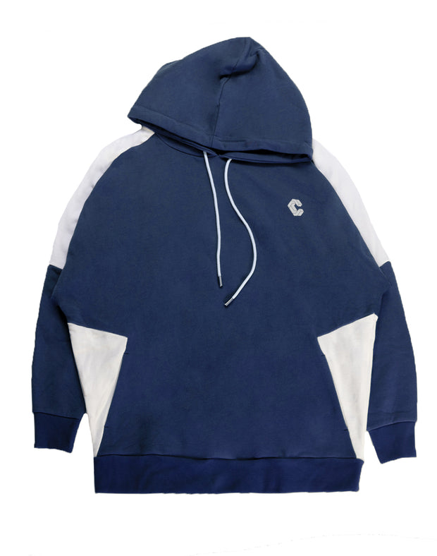 CRONOS NEW SHOULDER COLOR HOODY【NAVY×WHITE】
